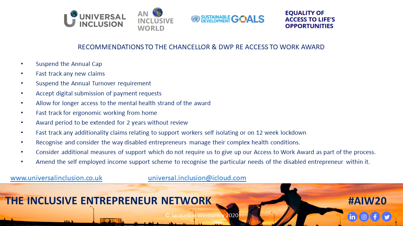 Recommendations ot the Chancellor & DW re Access to Work Award