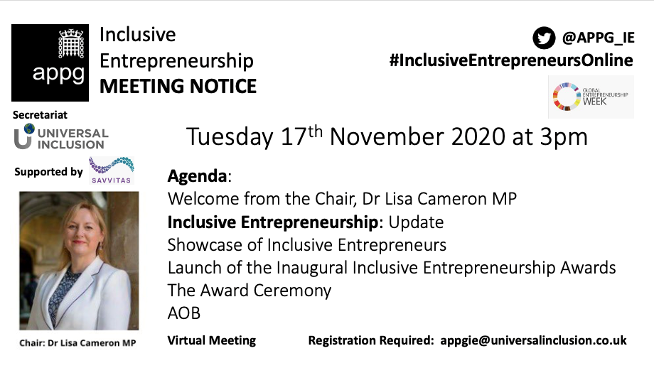 Meeting Notice: APPG Inclusive Entrepreneurship November Meeting 2020